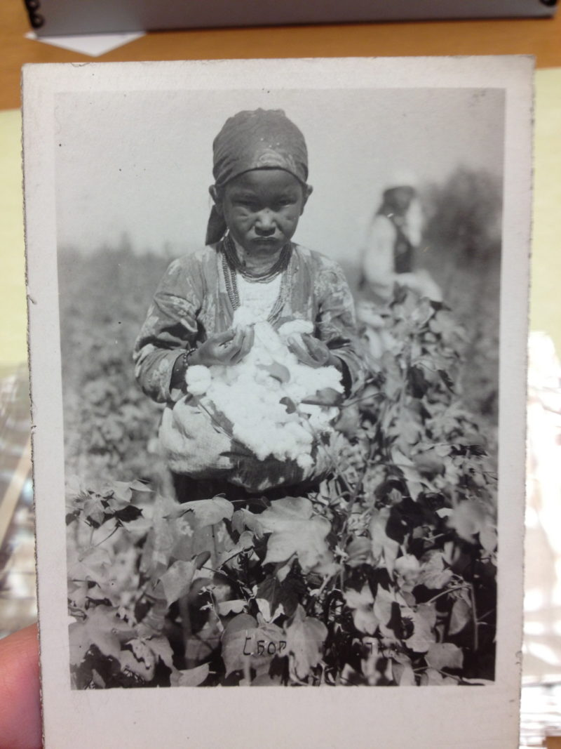 Uzbek girl on a cotton collective in Uzbekistan, ca. 1932